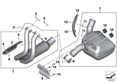 Goto diagram: BMW Classic Motorbike Model F 850 GS (0B29)( BRA ), Category 18.51 Exhaust manifold with front silencer :: Diagram: 18_1436