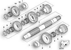 Goto diagram: BMW Classic Motorbike Model K 1200 GT 01 (0548,0558)( USA ), Category 23.21 6 SPEED TRANSMISSION-OUTPUT SHAFT :: Diagram: 23_0735