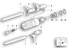 Goto diagram: BMW Classic Motorbike Model R 1100 GS 94 (0404,0409)( USA ), Category 23.31 5-SPEED TRANSMISSION - GEARSHIFT :: Diagram: 23_0757