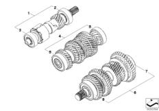 Goto diagram: BMW Classic Motorbike Model R nineT Racer (0J21, 0J23)( USA ), Category 23.21 Transmission shafts :: Diagram: 23_1108