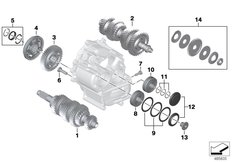 Goto diagram: BMW Classic Motorbike Model K 1600 GTL 17 (0F02, 0F12)( USA ), Category 23.21 Individual transmission parts :: Diagram: 23_1355
