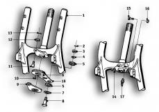 Goto diagram: BMW Classic Motorbike Model R69 S( ECE ), Category 31.10 Front swinging fork :: Diagram: 31_0505