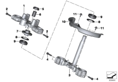 Goto diagram: BMW Classic Motorrad Modell G 650 GS Sertão (0136, 0146)( ECE ), Category 31.42 Fork bridge :: Diagram: 31_1007