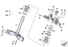 Goto diagram: BMW Classic Motorrad Modell R 1200 RS (0A05, 0A15)( USA ), Category 31.42 Fork bridge, bottom / top :: Diagram: 31_1189