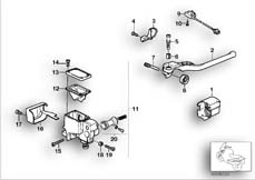 Goto diagram: BMW Classic Motorbike Model K 100 RS (0523,0533)( USA ), Category 32.10 HANDLE UNIT RIGHT/SINGLE PARTS :: Diagram: 32S0784