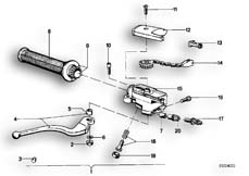 Goto diagram: BMW Classic Motorbike Model R75/6( ECE ), Category 32.10 Handle unit, right :: Diagram: 32_0754