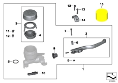 Goto diagram: BMW Classic Motorbike Model K 1200 S (0581,0591)( ECE ), Category 32.72 Handbrake control assembly :: Diagram: 32_2050