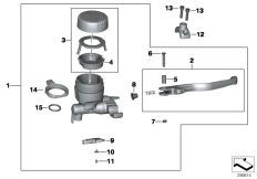 Goto diagram: BMW Classic Motorbike Model R 1200 GS Adve. 10 (0470,0480)( ECE ), Category 32.72 Handbrake fitting, handlebar locking M6 :: Diagram: 32_2153