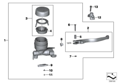 Goto diagram: BMW Classic Motorbike Model F 800 R (0215)( BRA ), Category 32.72 Handbrake fitting, handlebar locking M6 :: Diagram: 32_2157