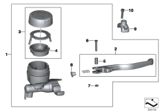 Goto diagram: BMW Classic Motorrad Modell F 800 GS Adve. (0B05, 0B15)( ECE ), Category 32.72 Handbrake fitting, handlebar locking M6 :: Diagram: 32_2165