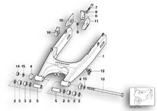 Goto diagram: BMW Classic Motorbike Model G 650 GS 09 (0178,0179)( ECE ), Category 33.35 Rear wheel swinging arm :: Diagram: 33_1045