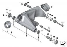 Goto diagram: BMW Classic Motorrad Modell R 900 RT 05 SF (0367,0387)( ECE ), Category 33.35 Rear wheel swinging arm :: Diagram: 33_1226