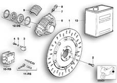 Goto diagram: BMW Classic Motorbike Model K 100 RS 83 (0502,0503,0513)( ECE ), Category 34.10 Disc brake, rear :: Diagram: 34S0619