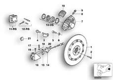 Goto diagram: BMW Classic Motorbike Model K 100 RS 83 (0502,0503,0513)( ECE ), Category 34.15 Rear wheel brake, ABS :: Diagram: 34S0634