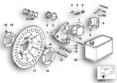 Goto diagram: BMW Classic Motorbike Model R65( USA ), Category 34.05 FRONT WHEEL BRAKE :: Diagram: 34_0595