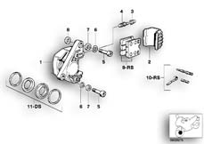 Goto diagram: BMW Classic Motorbike Model R 100 RS( ECE ), Category 34.05 FRONT BRAKE-BRAKE CALIPER :: Diagram: 34_0609