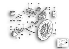 Goto diagram: BMW Classic Motorbike Model R 1100 RS 93 (0411,0416)( ECE ), Category 34.21 Rear wheel brake, ABS :: Diagram: 34_0670