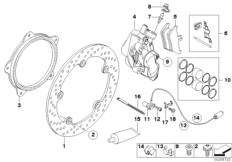 Goto diagram: BMW Classic Motorbike Model R 1200 GS Adve. 10 (0470,0480)( ECE ), Category 34.11 Front-wheel brake, rivet pack :: Diagram: 34_1646