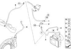 Goto diagram: BMW Classic Motorbike Model R 1200 GS Adve. 10 (0470,0480)( ECE ), Category 34.32 BRAKE PIPE FRONT ABS :: Diagram: 34_1647