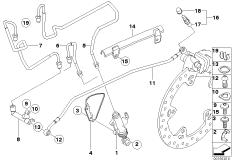 Goto diagram: BMW Classic Motorbike Model R 1200 GS Adve. 10 (0470,0480)( ECE ), Category 34.32 Brake pipe rear :: Diagram: 34_1649