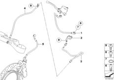 Goto diagram: BMW Classic Motorbike Model R 1200 GS Adve. 10 (0470,0480)( ECE ), Category 34.32 Brake pipe, front, without ABS :: Diagram: 34_1658