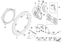 Goto diagram: BMW Classic Motorbike Model R 1200 RT 10 (0430,0440)( USA ), Category 34.11 Front-wheel brake, rivet pack :: Diagram: 34_1662