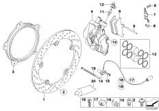 Goto diagram: BMW Classic Motorbike Model K 1200 R (0584,0594)( USA ), Category 34.11 Front brake,standard solution,rivet pack :: Diagram: 34_1663