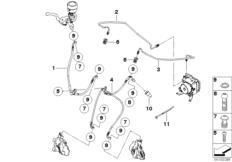 Goto diagram: BMW Classic Motorbike Model F 800 R (0215)( BRA ), Category 34.32 BRAKE PIPE FRONT ABS :: Diagram: 34_1741