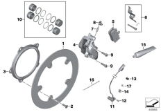 Goto diagram: BMW Classic Motorbike Model K 1200 S (0581,0591)( ECE ), Category 34.11 Front brake,standard solution,rivet pack :: Diagram: 34_1820