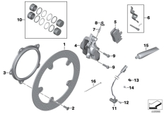 Goto diagram: BMW Classic Motorbike Model K 1200 GT (0587,0597)( USA ), Category 34.11 Front brake,standard solution,rivet pack :: Diagram: 34_1832