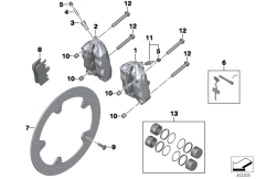 Goto diagram: BMW Classic Motorbike Model R nineT (0A06, 0A16)( USA ), Category 34.11 FRONT WHEEL BRAKE :: Diagram: 34_2080