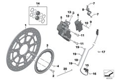 Goto diagram: BMW Classic Motorbike Model K 1600 GTL 17 (0F02, 0F12)( USA ), Category 34.11 FRONT WHEEL BRAKE :: Diagram: 34_2532