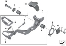 Goto diagram: BMW Classic Motorbike Model R 1200 GS Adve. 10 (0470,0480)( ECE ), Category 35.21 Brake pedal :: Diagram: 35_0368