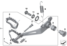 Goto diagram: BMW Classic Motorbike Model R 1200 GS Adve. (0A42)( BRA ), Category 35.21 Footbrake lever, adjustable :: Diagram: 35_0396