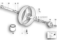 Goto diagram: BMW Classic Motorrad Modell R 1100 R 94 (0402,0407)( USA ), Category 36.31 FRONT SILVER CAST IRON RIM/DIAL SHAFT :: Diagram: 36_0174