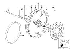 Goto diagram: BMW Classic Motorbike Model G 650 GS 09 (0178,0179)( ECE ), Category 36.31 SPOKE WHEEL FRONT :: Diagram: 36_0448