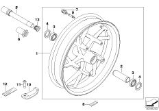 Goto diagram: BMW Classic Motorrad Modell R 900 RT 05 SF (0367,0387)( ECE ), Category 36.31 Cast rim, front :: Diagram: 36_0815