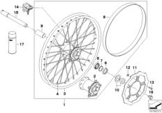 Goto diagram: BMW Classic Motorrad Modell G 450 X (0145)( USA ), Category 36.31 Spoked wheel, front :: Diagram: 36_1345