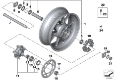 Goto diagram: BMW Classic Motorbike Model S 1000 RR 10 (0507,0517)( ECE ), Category 36.31 Cast rim, rear :: Diagram: 36_1424