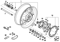Goto diagram: BMW Classic Motorbike Model F 800 R (0215)( BRA ), Category 36.31 Cast rim, rear :: Diagram: 36_1477