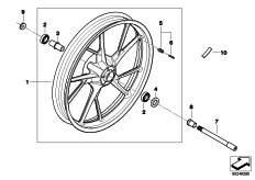 Goto diagram: BMW Classic Motorrad Modell G 650 GS 11 (0188,0189)( ECE ), Category 36.31 Cast rim, front :: Diagram: 36_1625