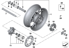 Goto diagram: BMW Classic Motorbike Model S 1000 XR (0D23)( BRA ), Category 36.31 Cast rim, rear :: Diagram: 36_2145