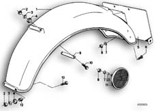 Goto diagram: BMW Classic Motorbike Model R65( USA ), Category 46.30 REAR MUDGUARD :: Diagram: 46_0030