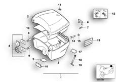 Goto diagram: BMW Classic Motorbike Model K 1100 LT (0526, 0536)( ECE ), Category 46.63 Top Case 35l :: Diagram: 46_0210