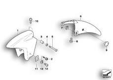 Goto diagram: BMW Classic Motorbike Model R 1150 RT 00 (0419,0499)( USA ), Category 46.61 Front mudguard :: Diagram: 46_0338