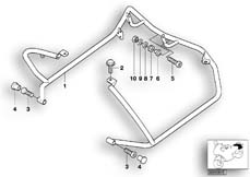 Goto diagram: BMW Classic Motorbike Model R 1100 RT 96 (0413,0418)( USA ), Category 46.70 MOUNTING PARTS F REAR PROTECTION BAR :: Diagram: 46_0379