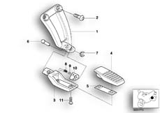 Goto diagram: BMW Classic Motorbike Model R 1200 C Indep. 00 (0405,0433)( ECE ), Category 46.71 Rear footrests :: Diagram: 46_0401