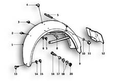 Goto diagram: BMW Classic Motorrad Modell R26( ECE ), Category 46.30 REAR MUDGUARD MOUNTING PARTS :: Diagram: 46_0486