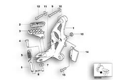 Goto diagram: BMW Classic Motorbike Model R 1150 GS Adv. 01 (0441,0492)( USA ), Category 46.71 FOOTPEG PLATE/FRONT FOOTPEG :: Diagram: 46_0593