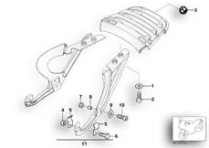Goto diagram: BMW Classic Motorrad Modell R 1100 R 94 (0402,0407)( USA ), Category 46.54 Mounting parts, luggage grid :: Diagram: 46_0597